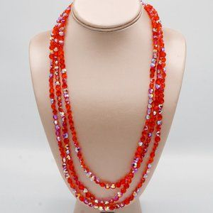 Jewelry - 3/$20 Red Aurora Borealis Glass Beaded Necklace